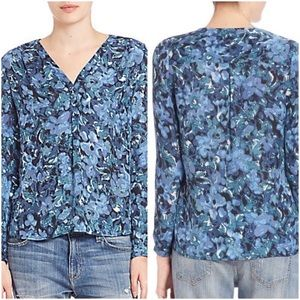 Joie Anthia Blue Floral Silk Blouse